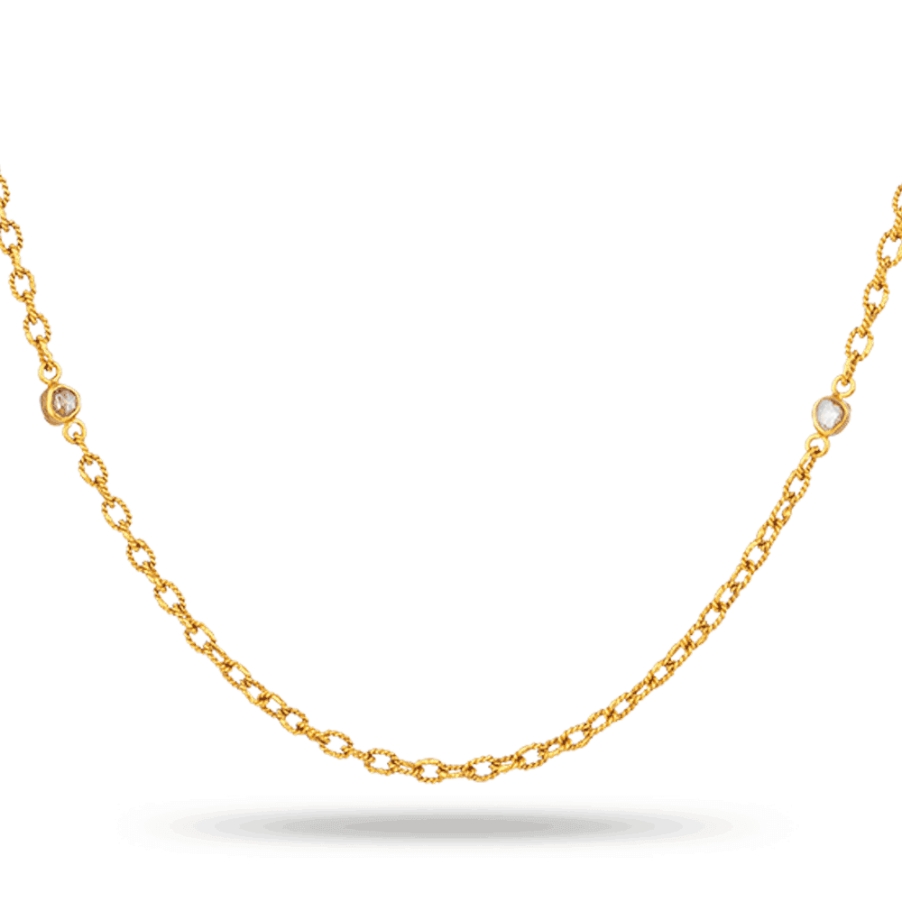 27928 - Diya 22ct Gold Bridal Chain With Uncut Polki Diamonds