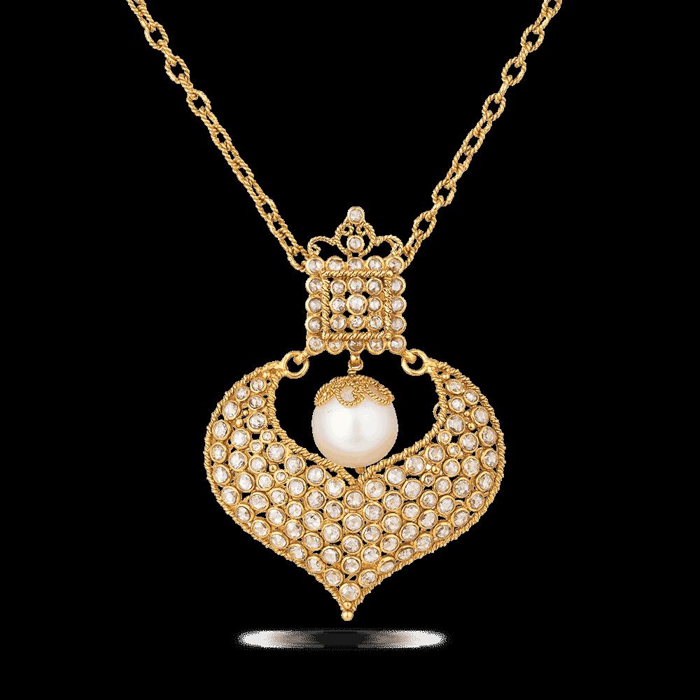 27930 - Diya 22ct Gold Uncut Polki Diamond Pendant