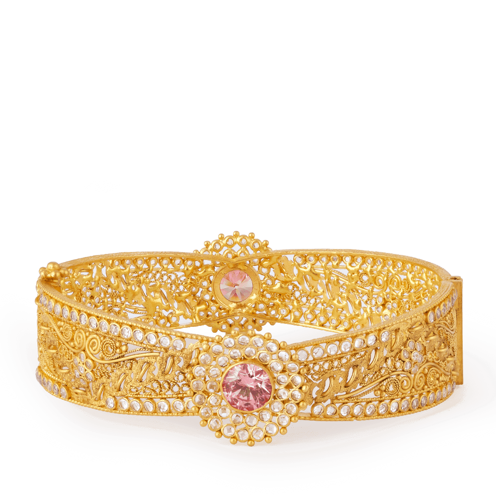 28017 - Anusha 22ct Gold Polki Bangle Kada