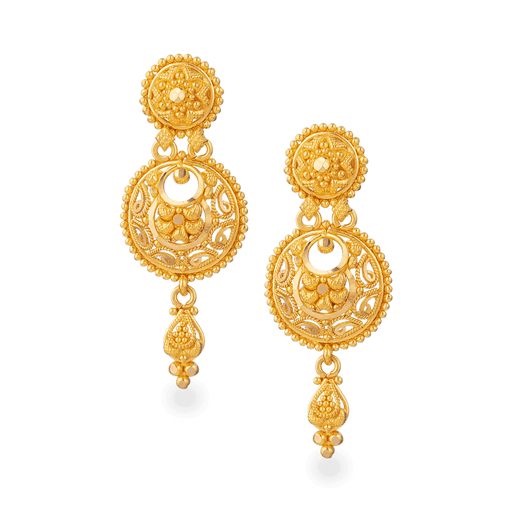 28051 - 22ct Gold Bridal Earring In Fine Filigree Design