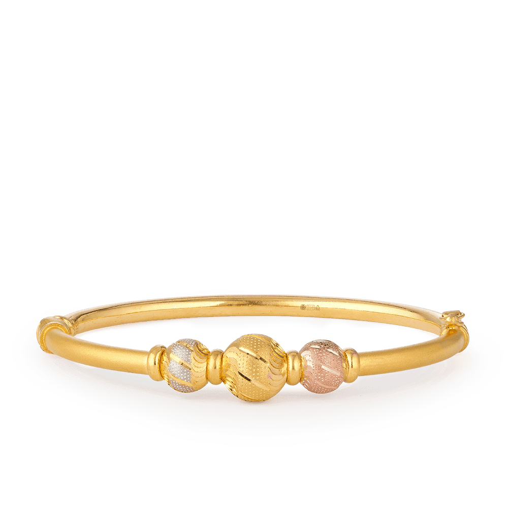 28115 - 22ct Gold Sparkle Bangle Bracelet