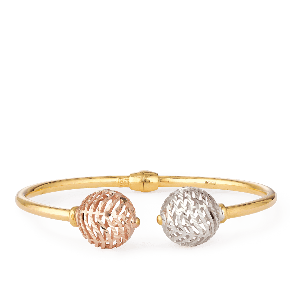 28121 - 22ct Gold Sparkle Modern Bangle