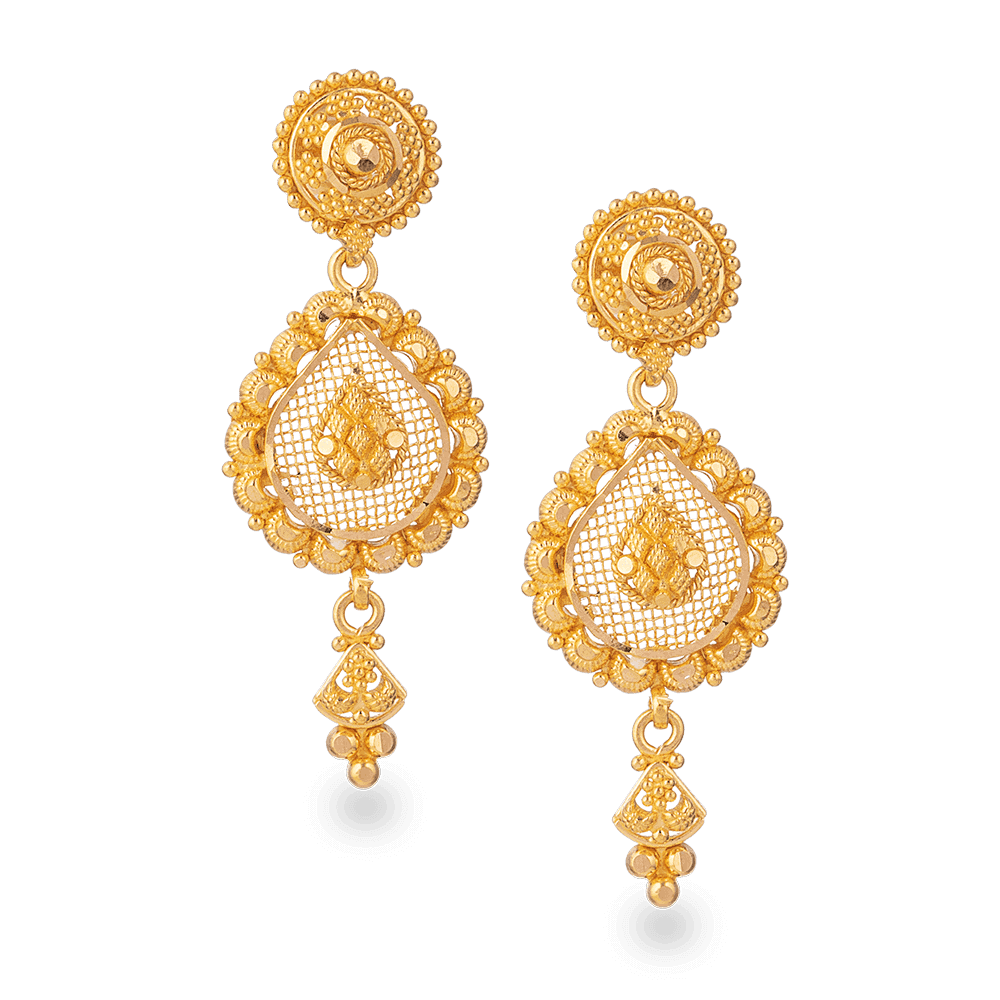 28198 - 22ct Gold Bridal Earring In Fine Filigree Design