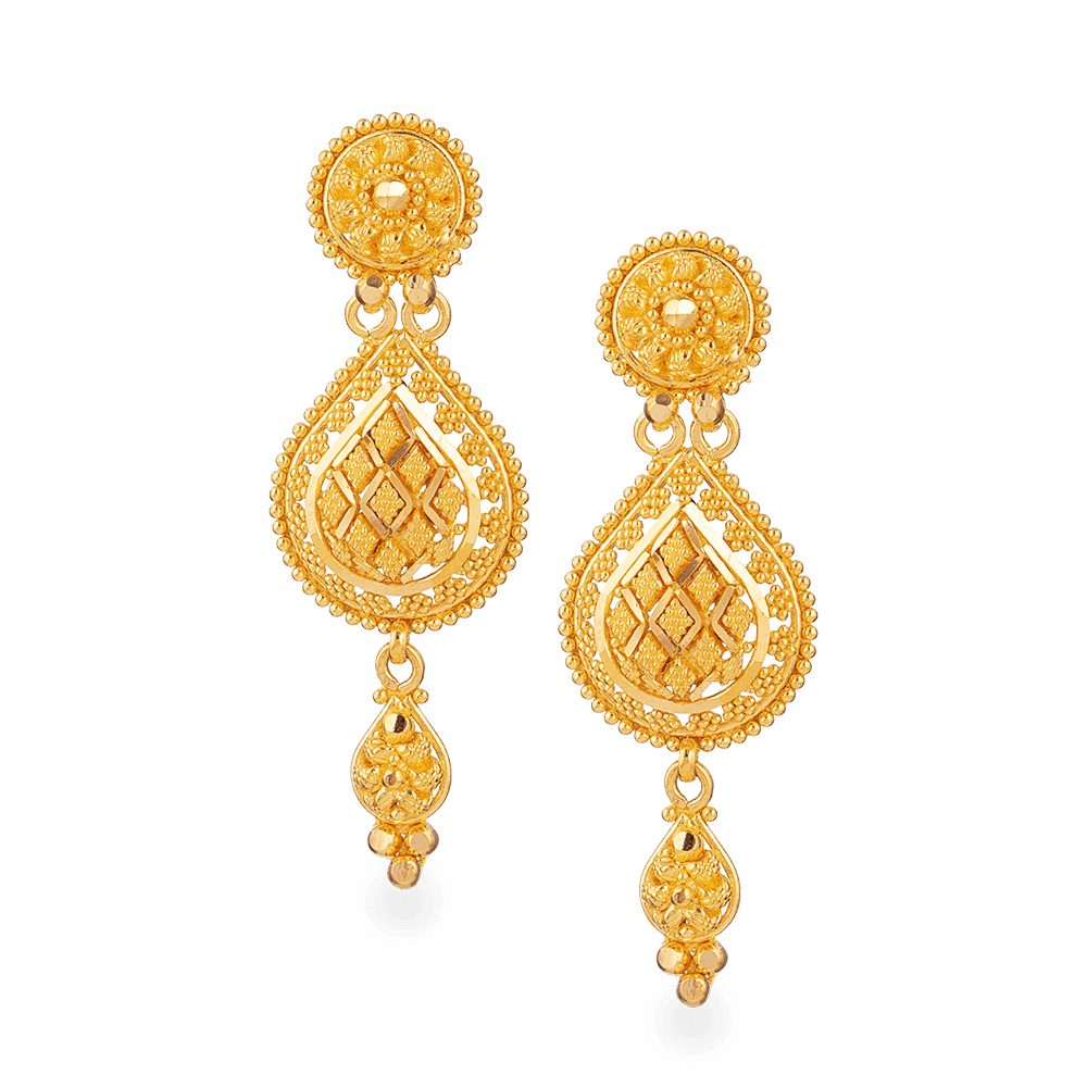 28203 - 22ct Gold Bridal Earring In Fine Filigree Design
