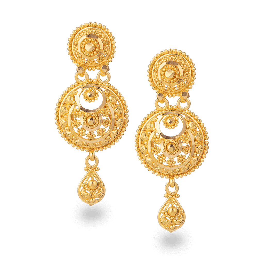 28203-2 - 22ct Gold Bridal Earring in Fine Filigree design