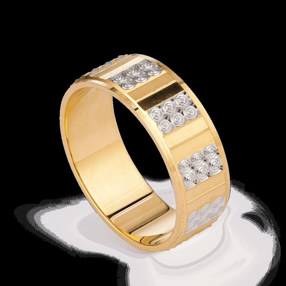 28234 - 22k Gold Band With Rhodium Finish