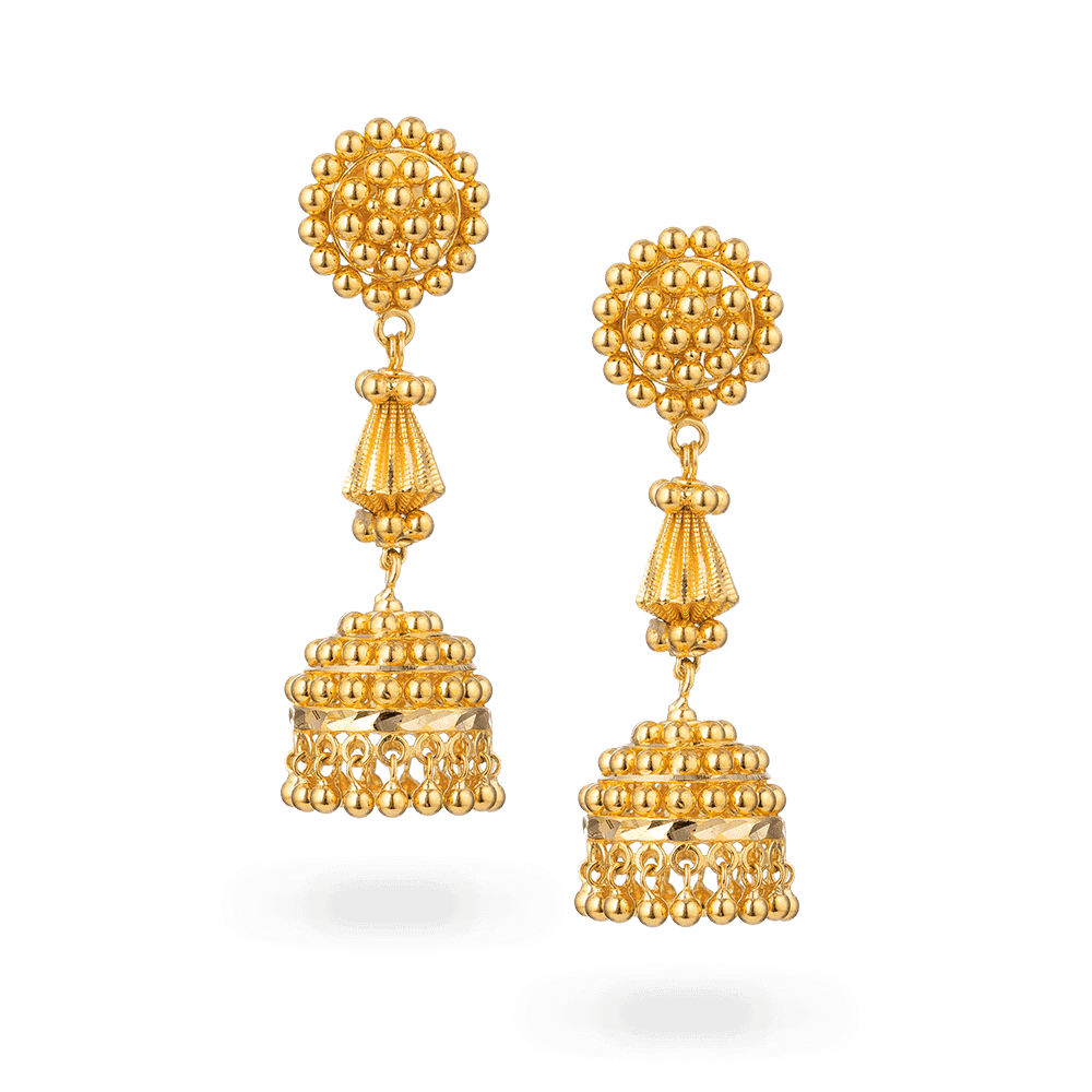 28391 - 22ct Gold Jhumka Earring
