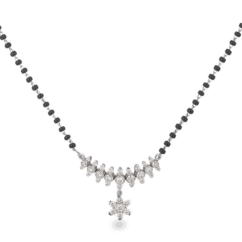 21257 - 18ct White Gold, Black Beaded Mangalsutra with Diamond