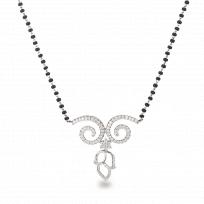 21269 - 18ct White Gold, Black beaded Mangalsutra with Diamonds