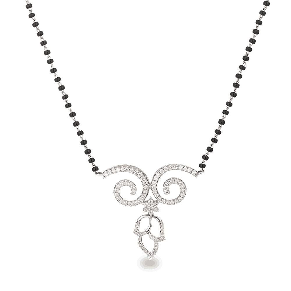 21269 - 18ct White Gold, Black beaded Mangalsutra with Diamonds