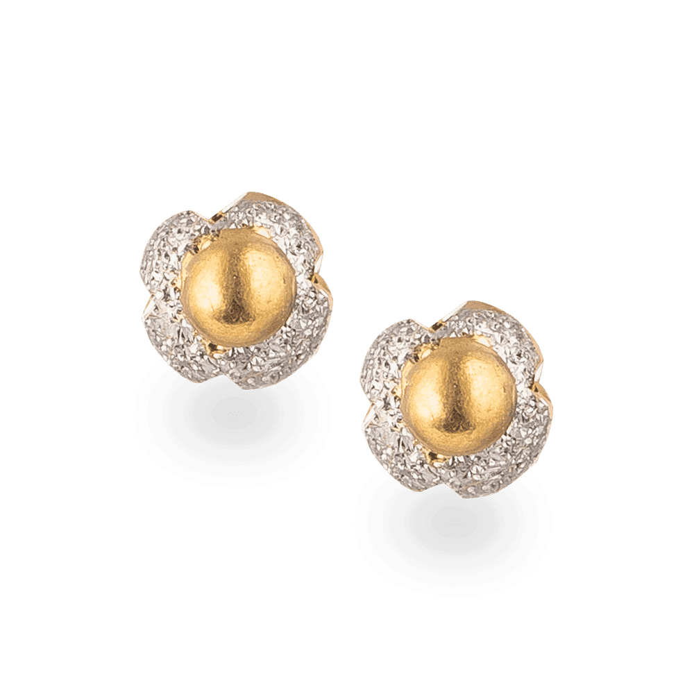 24019 - 22ct Gold Rhodium Polished Stud