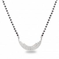 24290 - 18ct White Gold, Black Beaded Mangalsutra with Diamonds