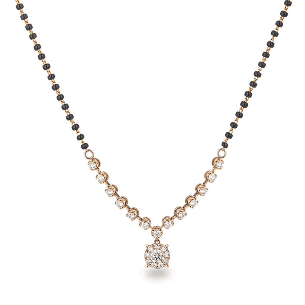 25192 - 18ct Rose Gold, Black Beaded Mangalsutra with Diamond