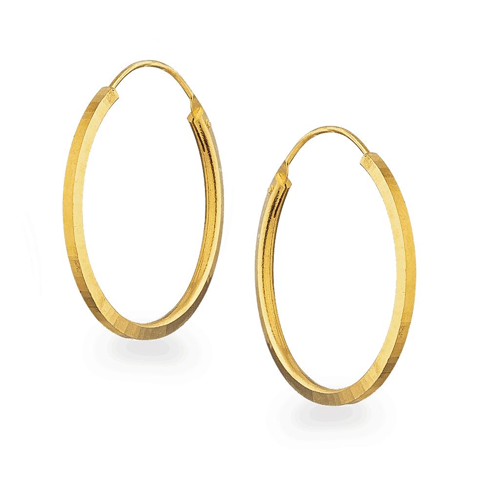 25937 - 22ct Gold Plain Round Hoop Earrings