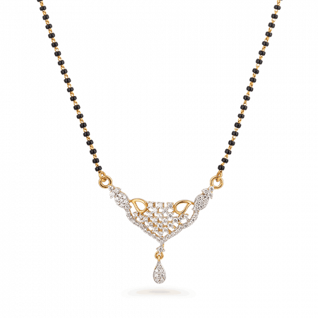 27302 - 22ct Gold Mangalsutra with CZ Stones Pendant