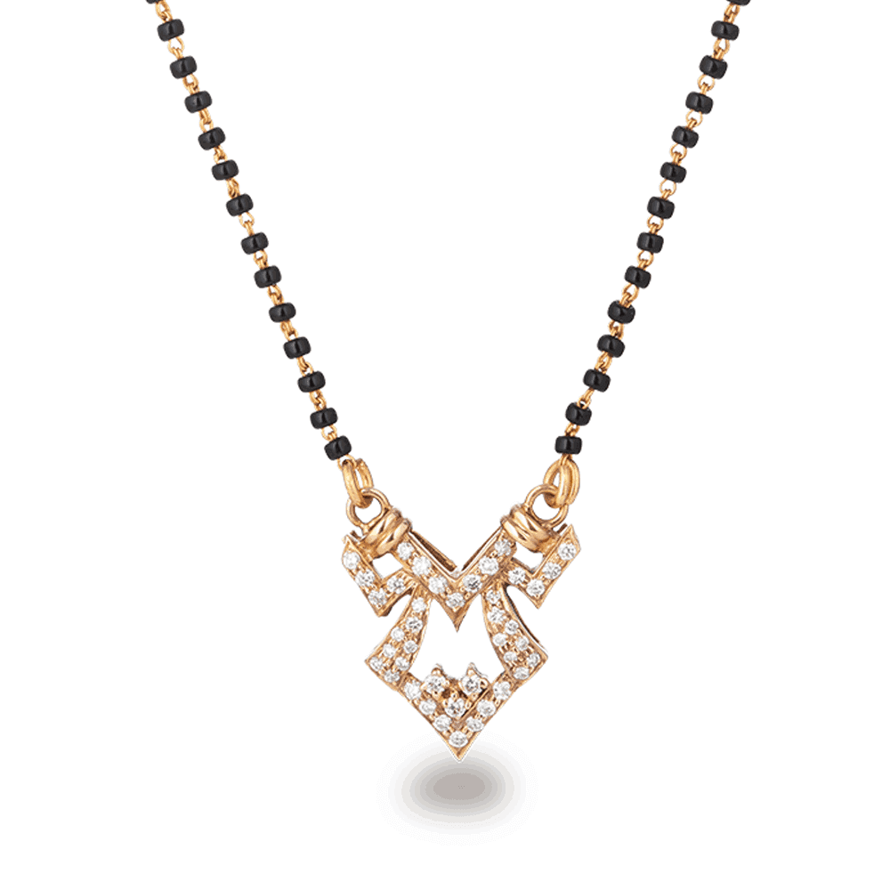 2745 - 18ct Rose Gold, Black Beaded Mangalsutra with Diamonds
