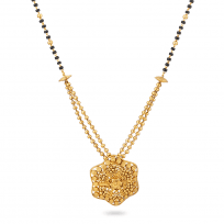 27581 - 22ct Gold Mangalsutra With Flower Pendant