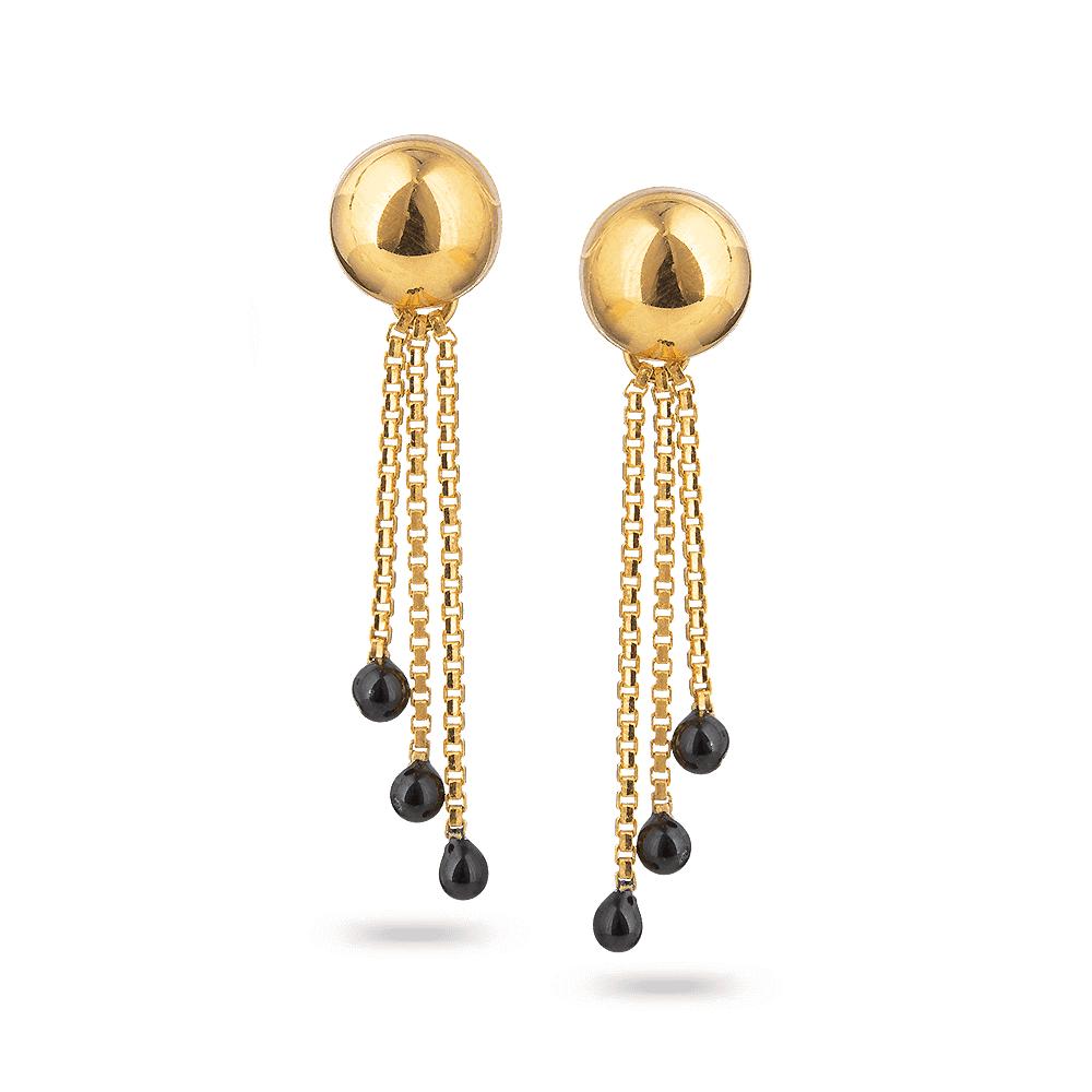 27681 - 22ct Gold Black-Beaded Earring