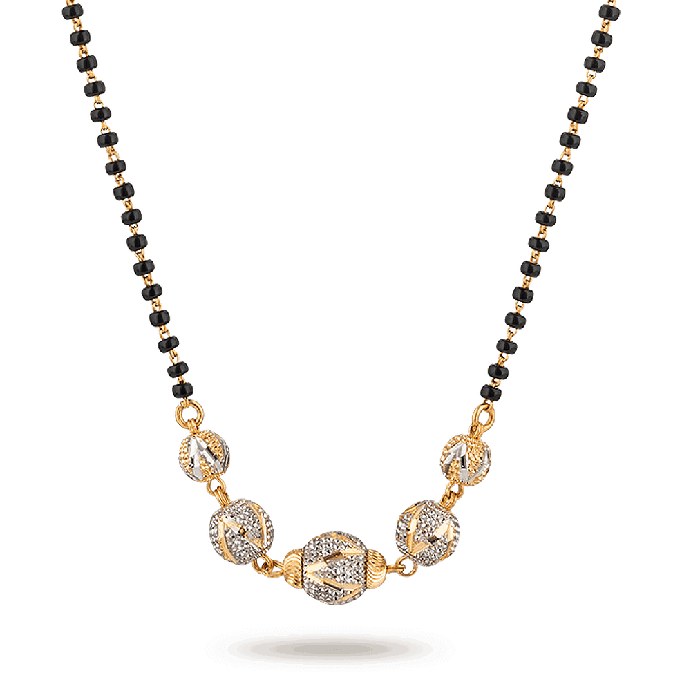 28250 - 22ct Gold Mangalsutra With Rhodium plated Ball Pendant