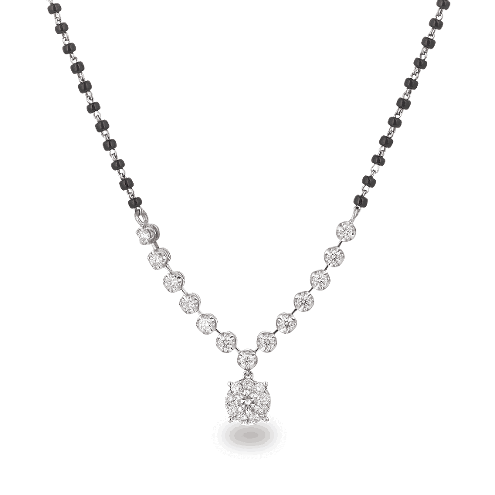 28455 - 18ct White Gold, Black Beaded Mangalsutra with Diamonds