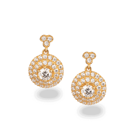 28528 - 22ct Gold Round CZ Earring
