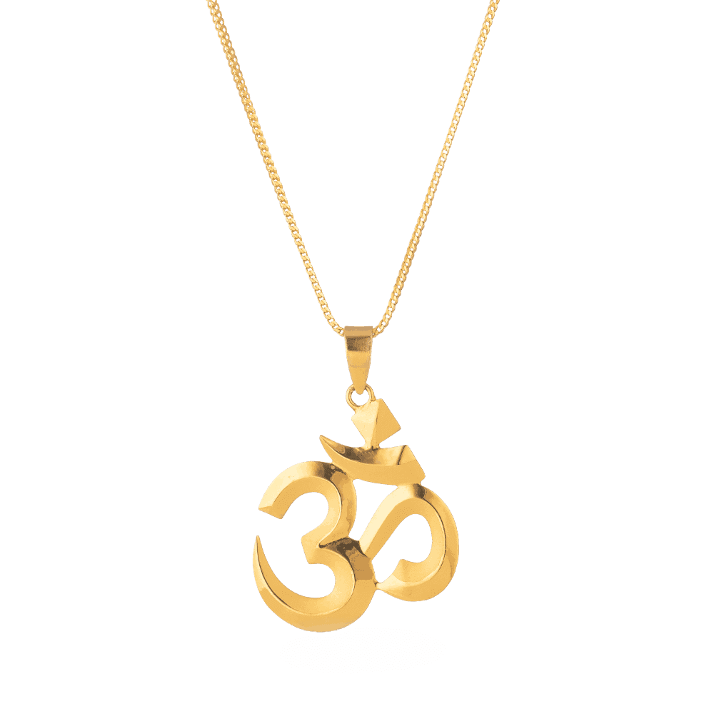 24855 - 22ct Gold Solid Om Pendant
