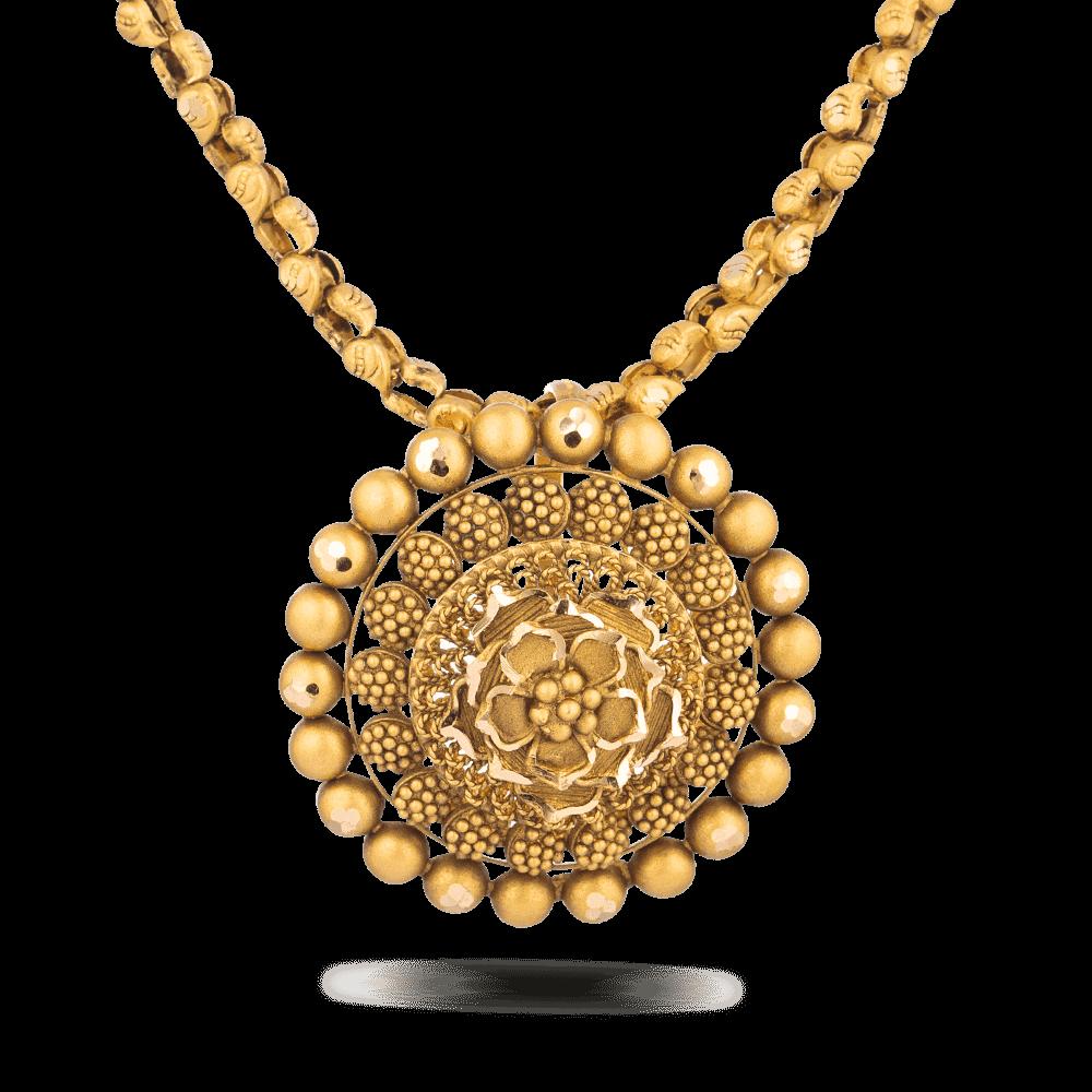 28722 - 22 Carat Gold Bridal Pendant With Antique Finish