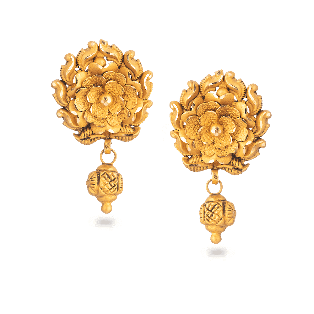 28736 - 22 Carat Gold Earring With Antique Finish