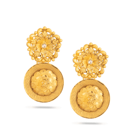 28737 - 22 Carat Gold Earring With Antique Finish