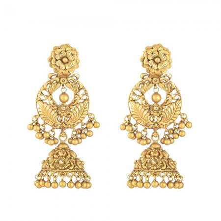 30910 - 22 Carat Gold Earring With Antique Finish