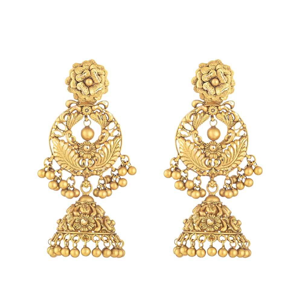 31954 - 22 Carat Gold Earring With Antique Finish