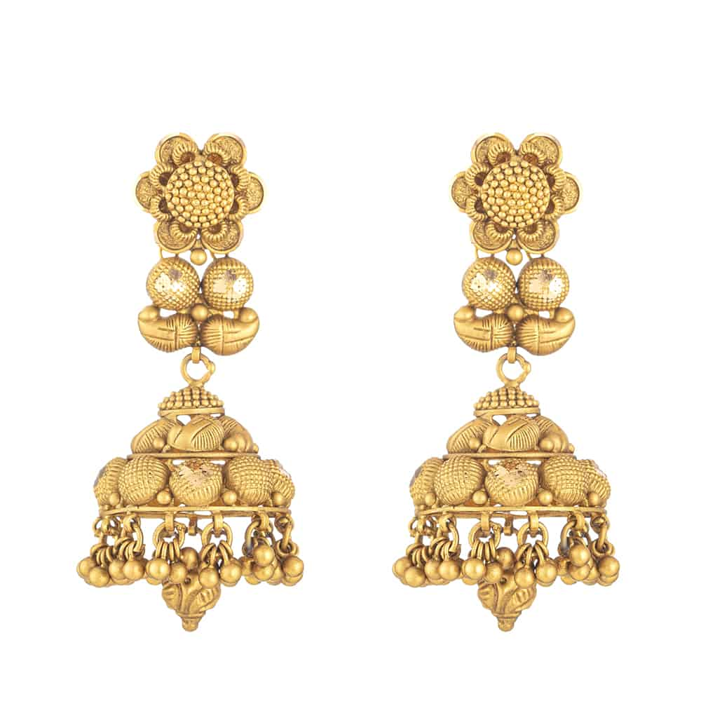 32103 - 22 Carat Gold Earring With Antique Finish