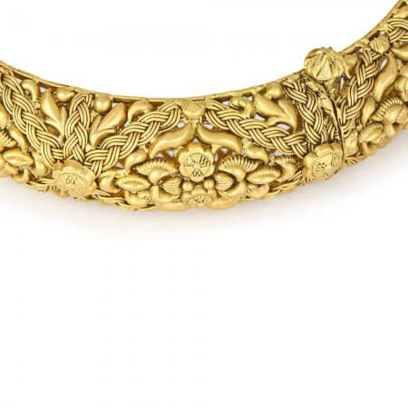 31951 - 22 Karat Gold Kada With Antique Finish