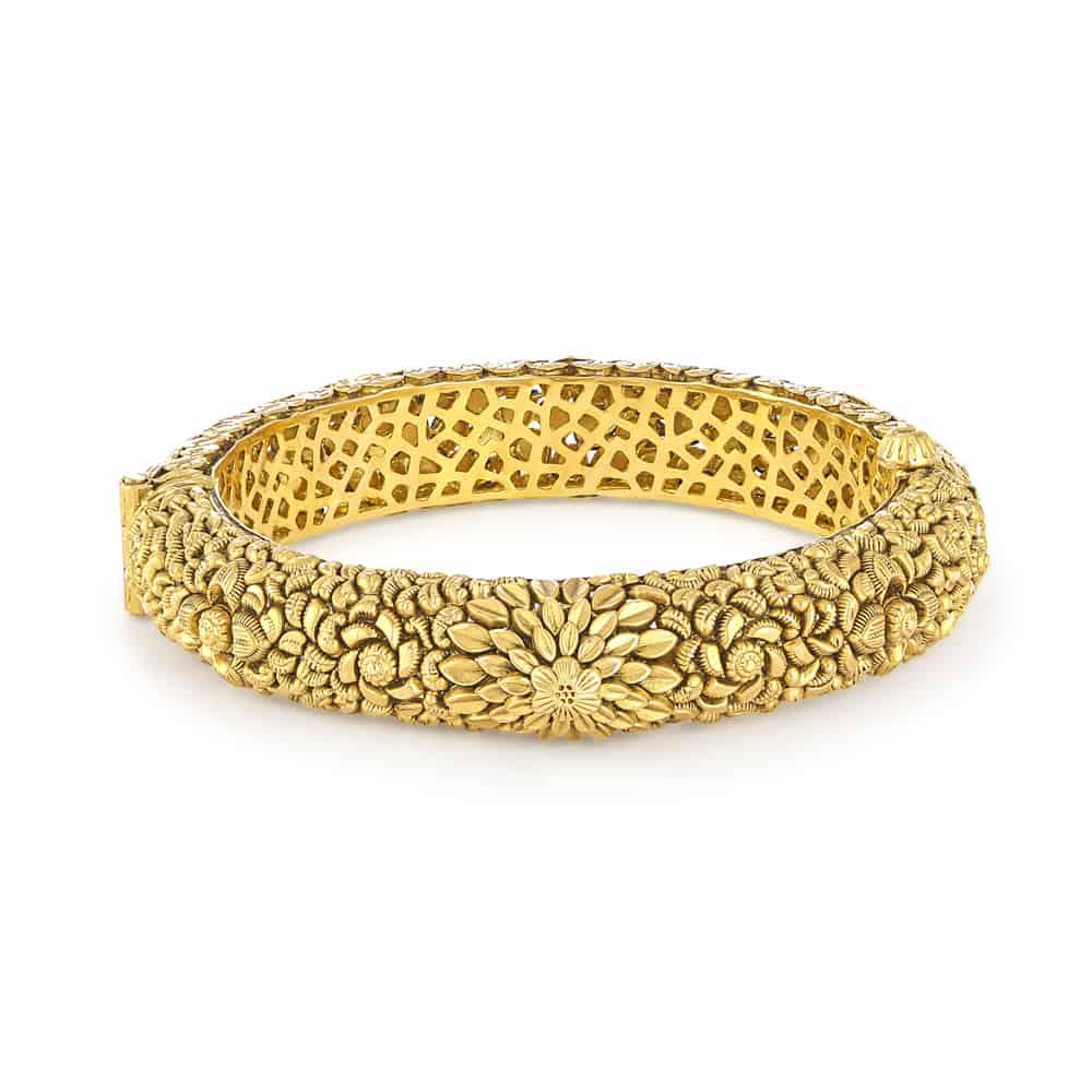 30914 - 22 Carat Gold Kada With Antique Finish