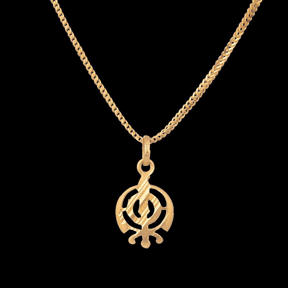 6100 - 22ct Gold Khanda Sikh Religious Pendant