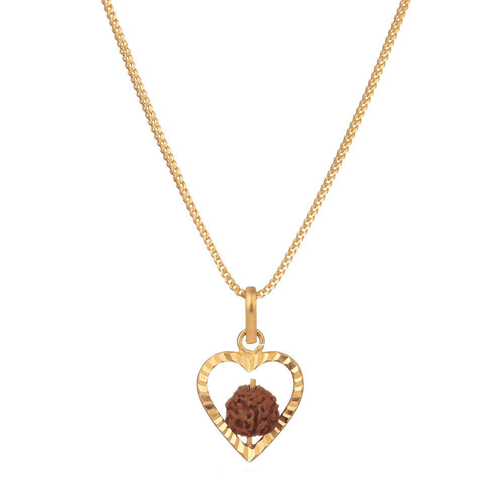 7506 - Heart Shaped Increated Rudraksha Pendant in 22ct Gold