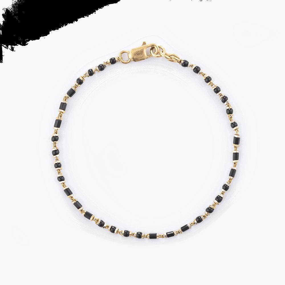 22575 - 22ct Gold Ladies Bracelet With Black Beads
