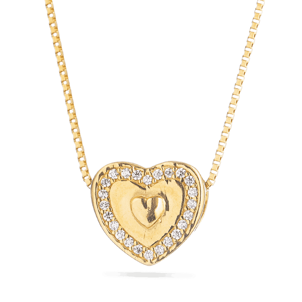 Heart 1 - Heart Shaped Pendant in 22kt Yellow Gold
