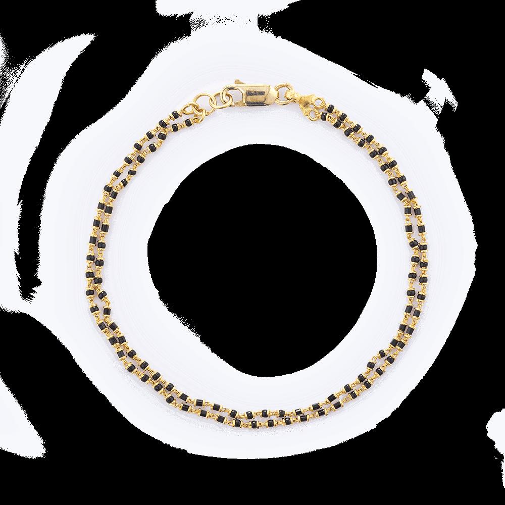 23871 - 22ct Gold Ladies Bracelet With Black Beads