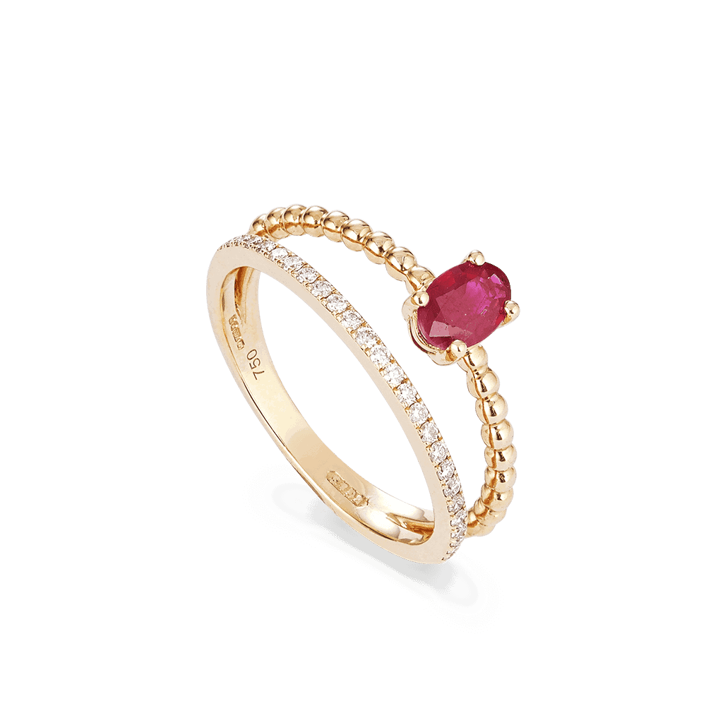 28109 - 18ct Rose Gold Ruby And Diamond Ring