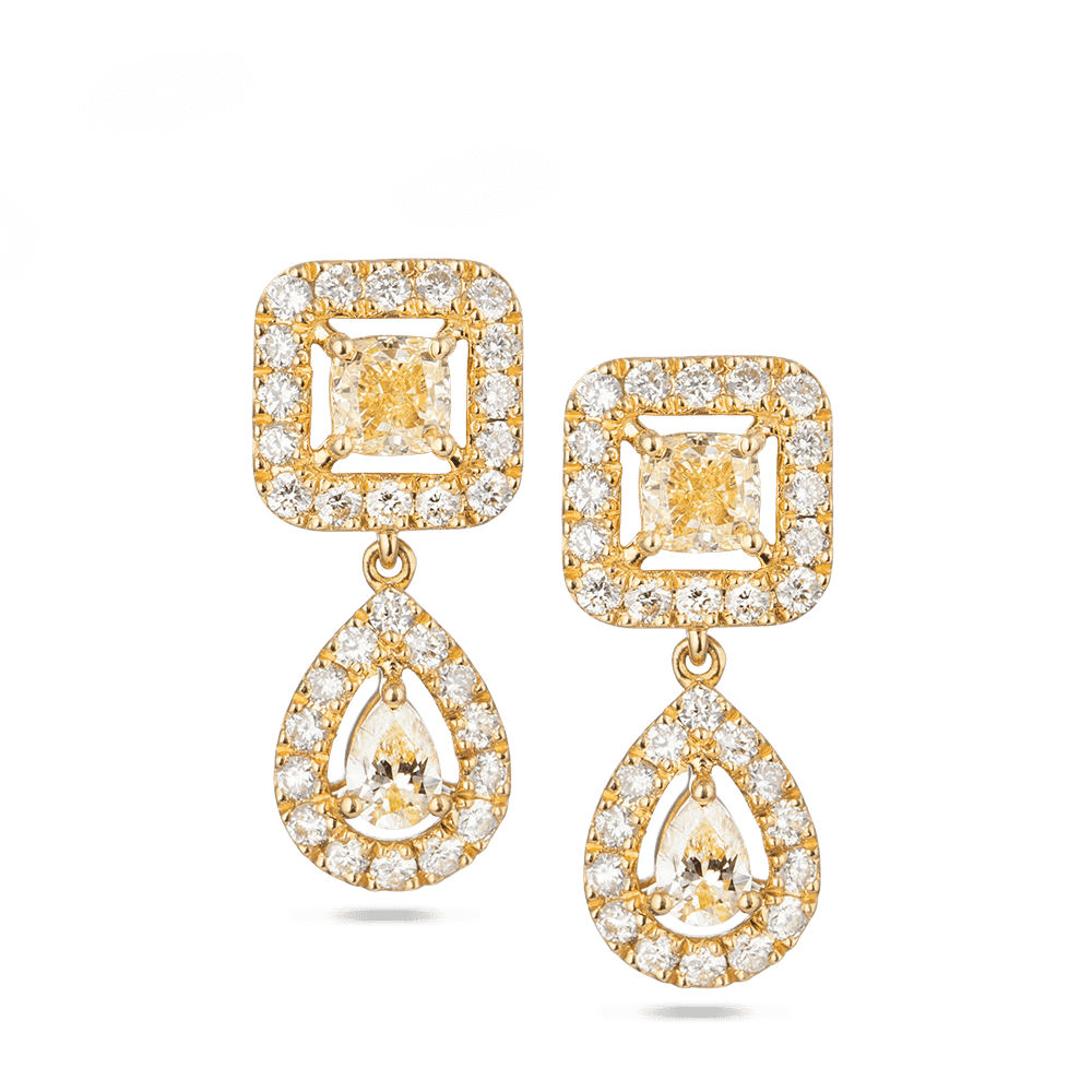 28545 - 18 Carat Yellow Gold Drop Earrings With Diamonds