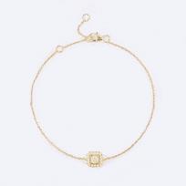 28547 - 18ct Yellow Gold Womens Diamond Bracelet