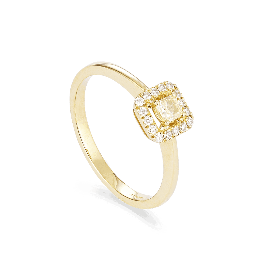 28550 - Cushion Cut Diamond Ring In Yellow Gold