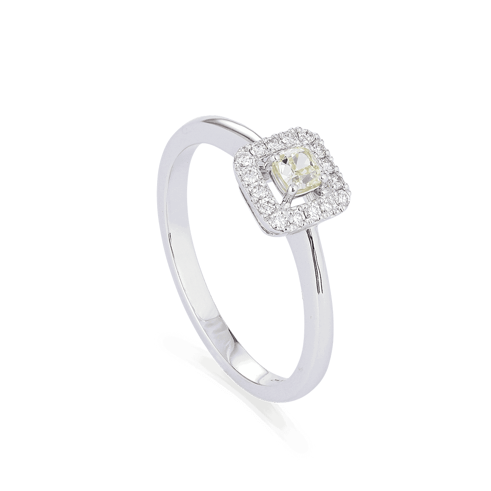 28552 - Cushion Cut Diamond Rings In 18kt White Gold