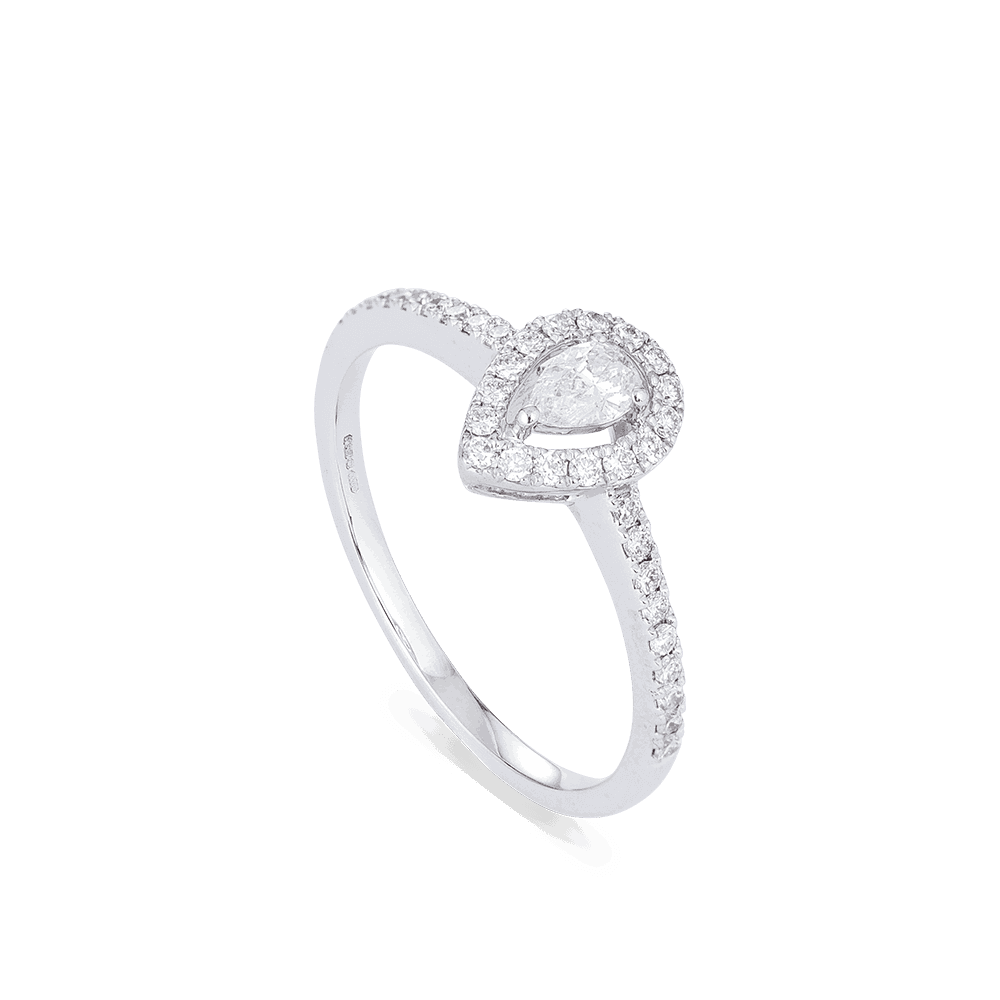 28556 - Pear Shaped 18ct White Gold Diamond Ring