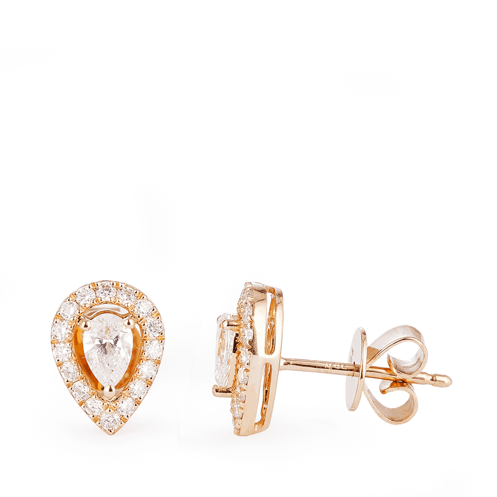 28560 - 18 Carat Rose Gold Diamond Earrings