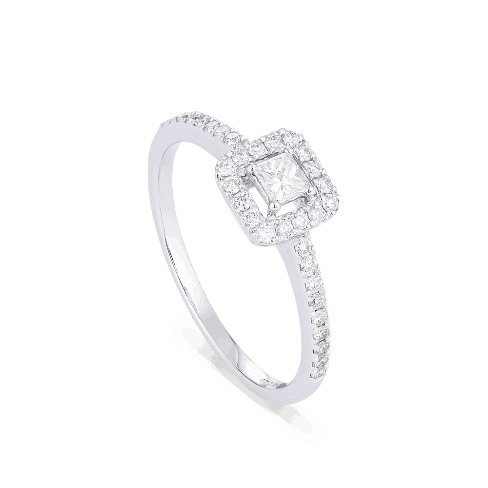 28567 - Princess Cut Diamond Ring In White Gold