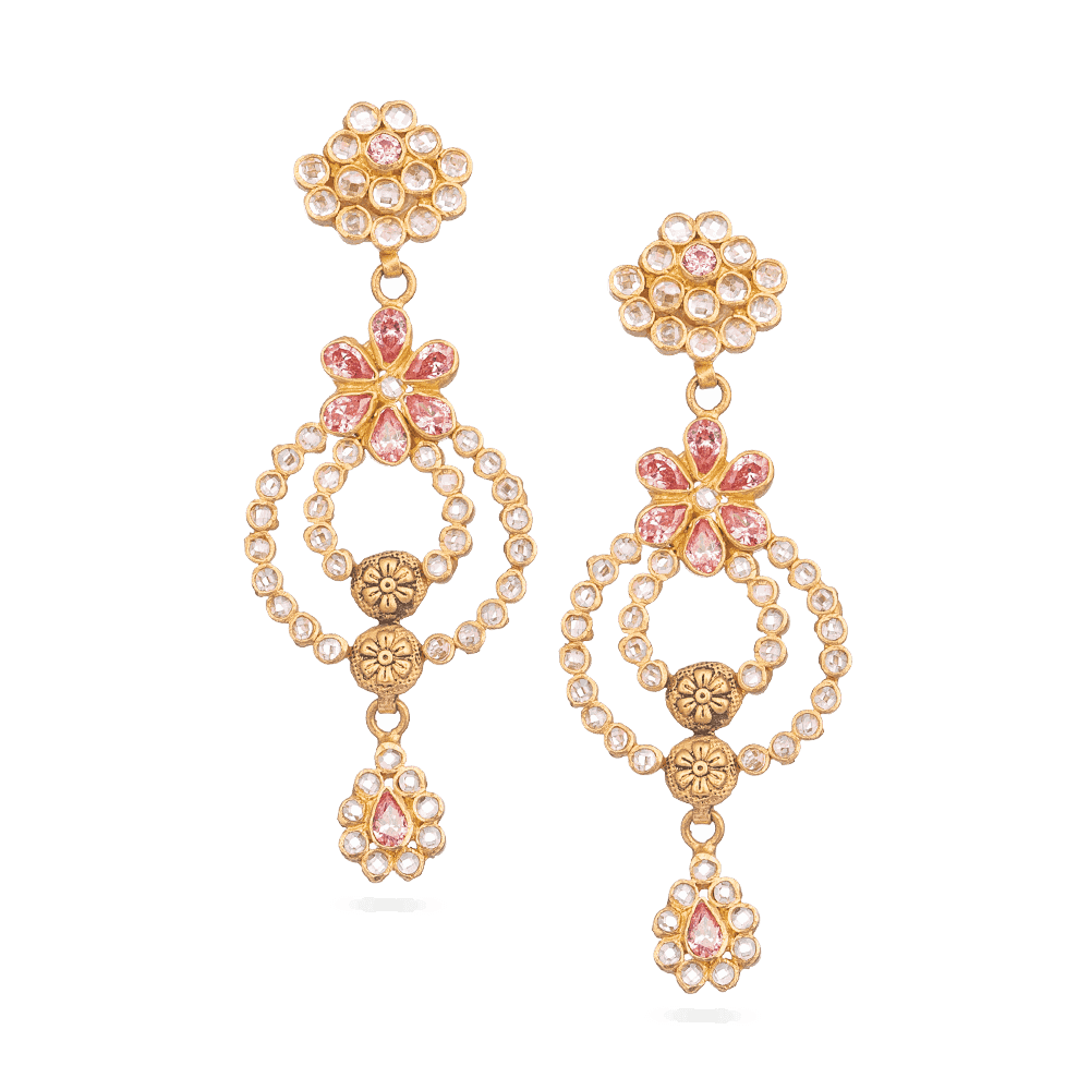 28834 - 22 Carat Gold Earrings With Polki Stones