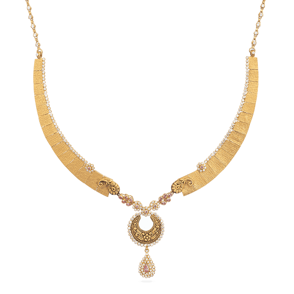 28879 - Bridal Gold Necklace With Antique Finish