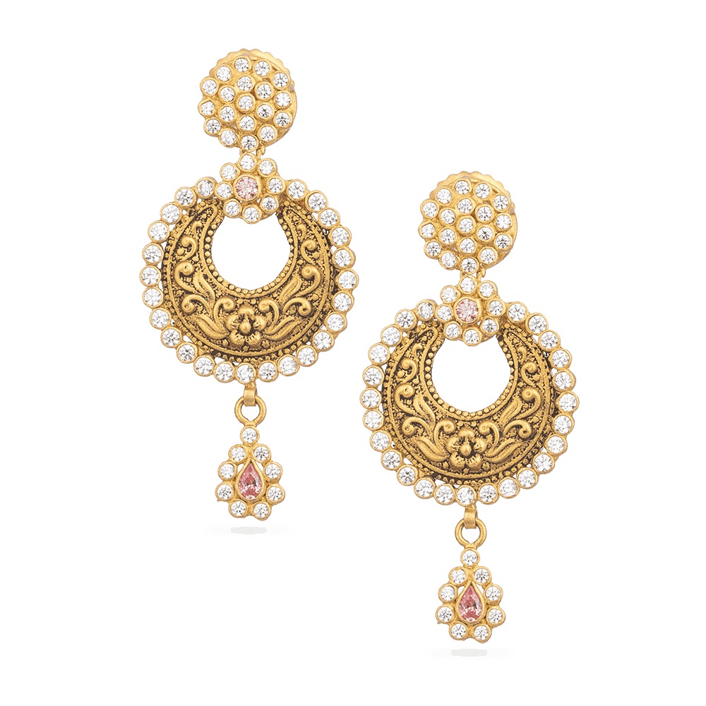 28880 - Asian Gold Earrings Studded With Polki Stones